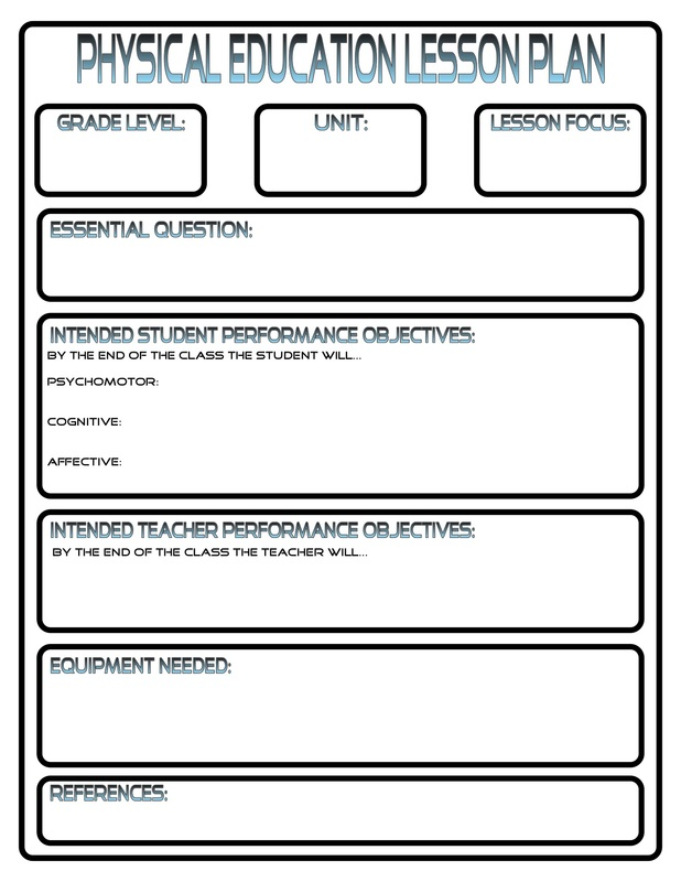 Lesson Plans PhysEdReview - Elementary pe lesson plan template